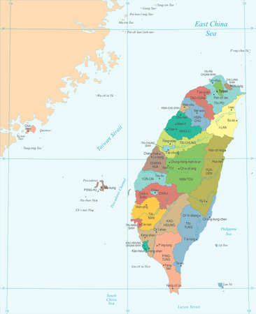 Taiwan Map - High Detailed Vector Illustration Vettoriali