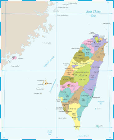 Taiwan Map - High Detailed Vector Illustration Illustration