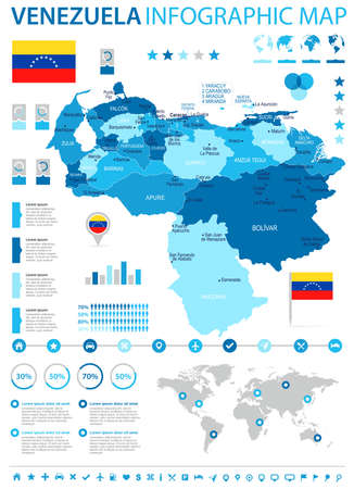 Venezuela infographic map and flag - High Detailed Vector Illustration