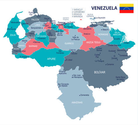 Venezuela, map and flag - High Detailed Vector Illustration.