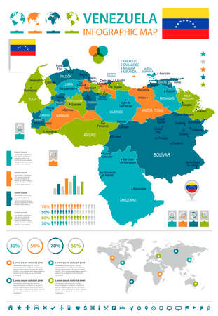Venezuela, infographic map and flag - High Detailed Vector Illustration