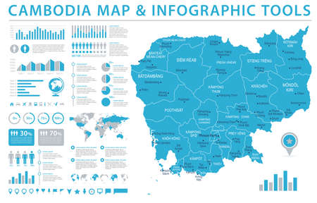 Cambodia Map  Detailed Info Graphic Vector Illustration