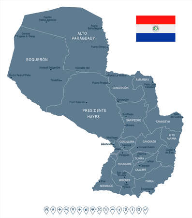 Paraguay map and flag - High Detailed Vector Illustration