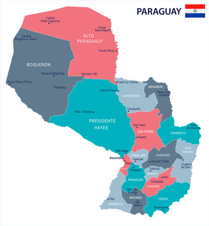 Paraguay, map and flag - High Detailed Vector Illustration