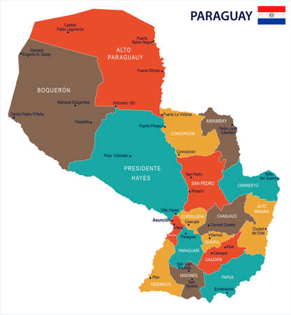 Paraguay map and flag on  High Detailed Vector Illustration