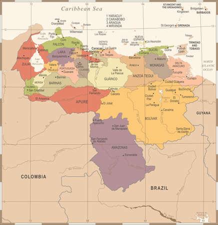 Venezuela Map  in Vintage High Detailed Vector Illustration