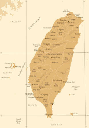 Taiwan Map  in Vintage High Detailed Vector Illustration