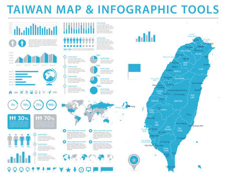 Taiwan Map - Detailed Info Graphic Vector Illustration Stock fotó - 96513184