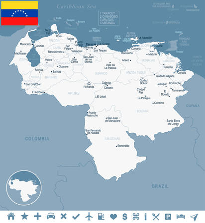 Venezuela map and flag in  High Detailed Vector Illustration
