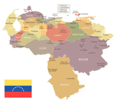Venezuela  in vintage map and flag  with High Detailed Vector Illustration