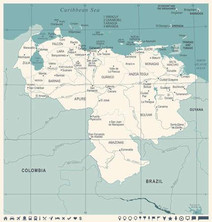 Venezuela map, vintage high detailed vector illustration.