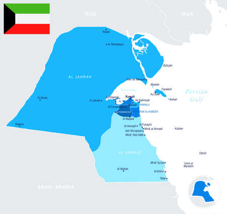 Kuwait map, detailed info graphic vector illustration. Illustration