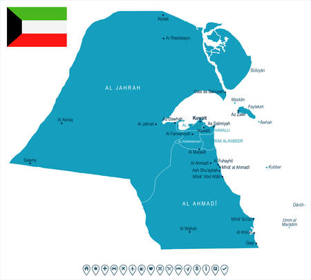 Kuwait map and flag - High Detailed Vector Illustration.
