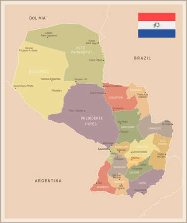 Paraguay - vintage map and flag - High Detailed Vector Illustration.