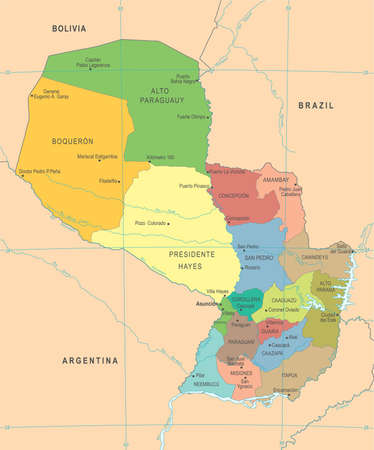 Paraguay Map - High Detailed Vector Illustration.