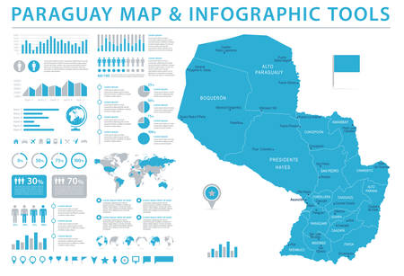 Paraguay Map - Detailed Info Graphic Vector Illustration.