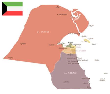 Kuwait - vintage map and flag - High Detailed Vector Illustration