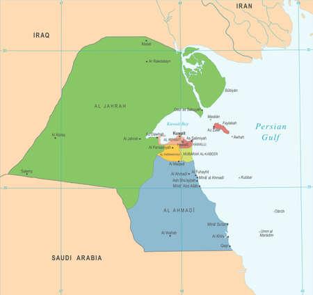 carte koweït - vecteur détaillée illustration détaillée