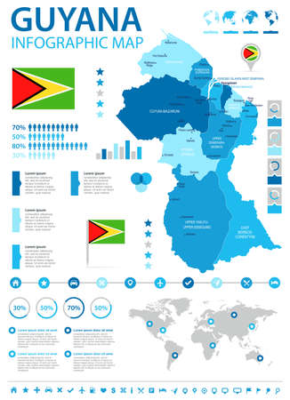 A Guyana Info Graphic Map And Flag - High Detailed Vector ...