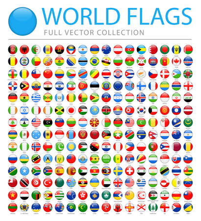 All World Flags Set - New Additional List of Countries and Territories - Vector Round Glossy Icons