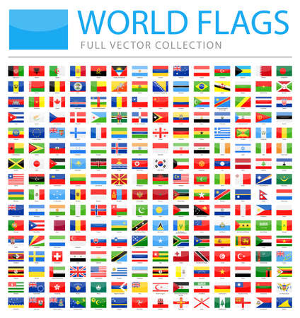 All World Flags Set - New Additional List of Countries and Territories - Vector Rectangle Glossy Icons 일러스트