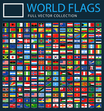 All World Flags Set on Black Background - New Additional List of Countries and Territories - Vector Rectangle Flat Icons