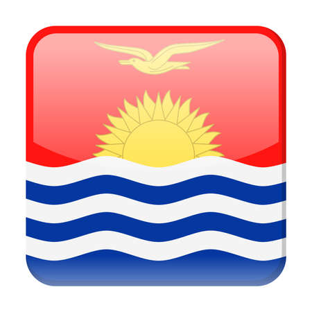 Kiribati Flag Vector Square Icon - Illustration