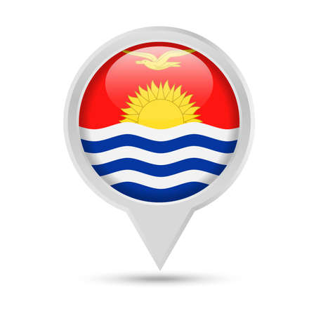 Kiribati Flag Round Pin Vector Icon - Illustration