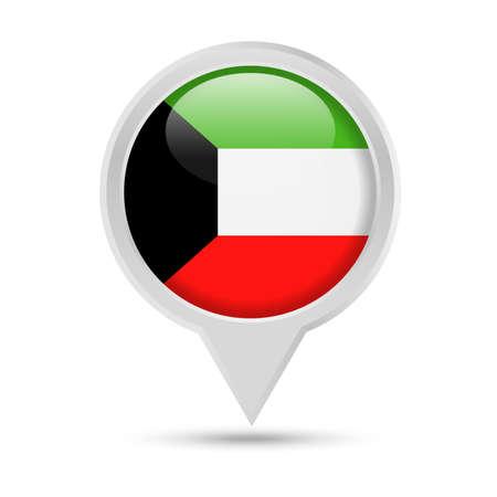 Kuwait Flag Round Pin Vector Icon - Illustration Illustration