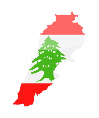 Lebanon flag country contour vector icon illustration