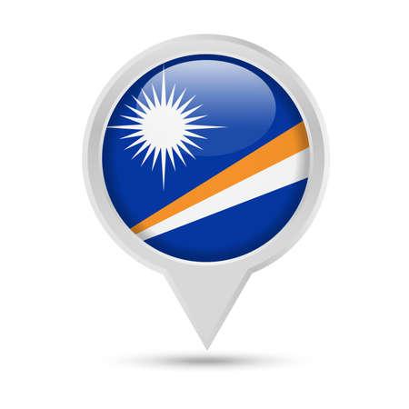Marshall Islands Flag Round Pin Vector Icon - Illustration  イラスト・ベクター素材