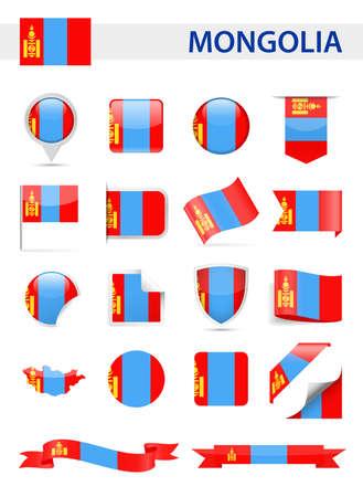 Mongolia Flag Set - Vector Illustration