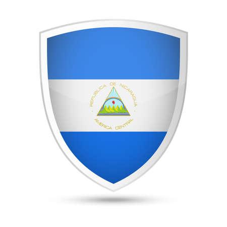 Nicaragua Flag Vector Shield Icon - Illustration Illustration