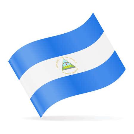Nicaragua Flag Vector Waving Icon - Illustration