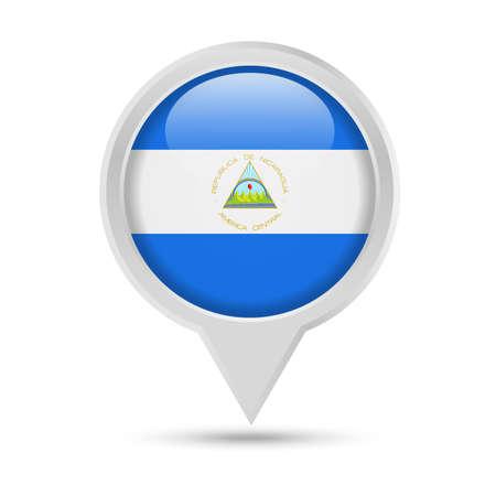 Nicaragua Flag Round Pin Vector Icon - Illustration Illustration