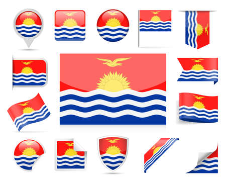 Kiribati Flag Set - Vector Illustration