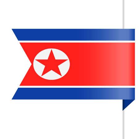 North Korea Flag Vector Bookmark Icon - Illustration