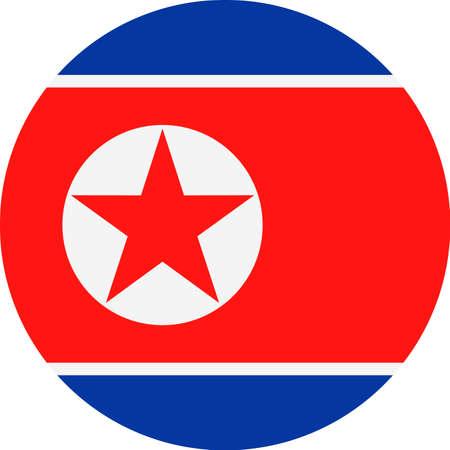 North Korea Flag Vector Round Flat Icon - Illustration