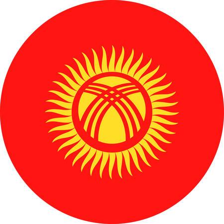 Kyrgyzstan Flag Vector Round Flat Icon - Illustration