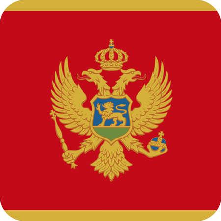 Montenegro Flag Vector Square Flat Icon - Illustration