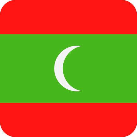 Maldives Flag Vector Square Flat Icon - Illustration