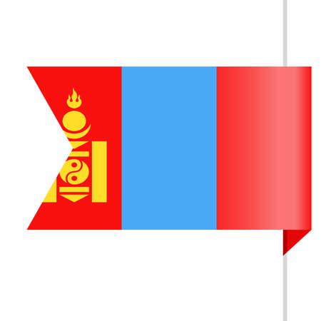 Mongolia Flag Vector Bookmark Icon - Illustration