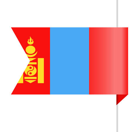 Mongolia Flag Vector Bookmark Icon - Illustration