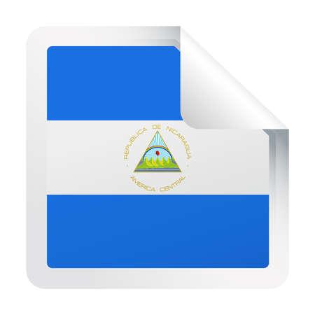 Nicaragua Flag Vector Square Corner Paper Icon - Illustration