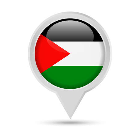 Palestine Flag Round Pin Vector Icon - Illustration Vectores
