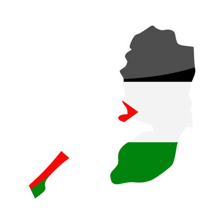 Palestine Flag Country Contour Vector Icon - Illustration