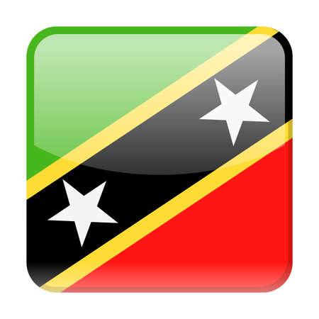 St. Kitts and Nevis Flag Vector Square Icon - Illustration