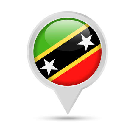 St. Kitts and Nevis Flag Round Pin Vector Icon - Illustration