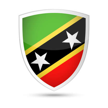 St. Kitts and Nevis Flag Vector Shield Icon - Illustration