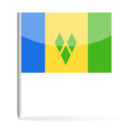 Saint Vincent and the Grenadines Flag Pin Vector Icon - Illustration